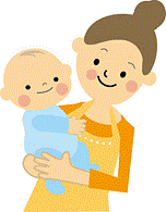 母親と子供のイラスト